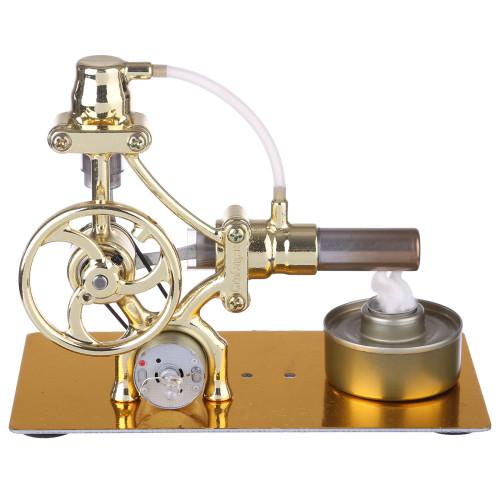 L-Type Single-cylinder Stirling Engine with LED Diode - Golden