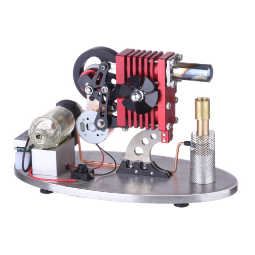 α-type Double Cylinder Double Piston Rocker Arm Linkage Stirling Engine with LED Lamp