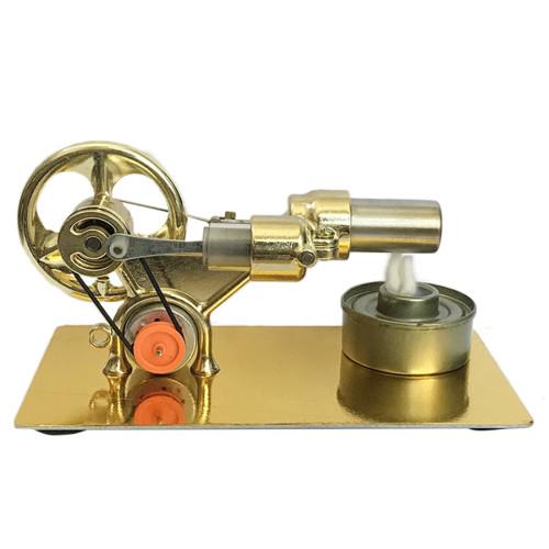 Single Cylinder Stirling Engine (Random Color of Bulb) - Golden