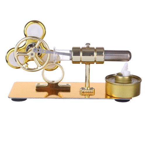 Custom Single Stirling Engine with Luminous Gyroscope - Golden
