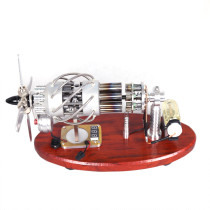 Custom 16-Cylinder Swash Plate Stirling Engine Model with Meter and LED