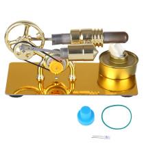 Hot Air Stirling Engine External Combustion Engine Model with LED Bulb - Golden