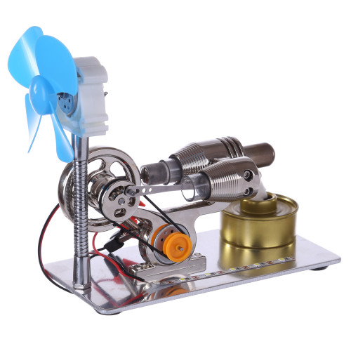 γ-Type Stirling Engine with LED Light Bar and Fan