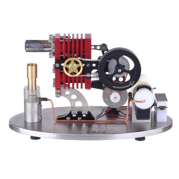 α-type Double Cylinder Double Piston Rocker Arm Linkage Stirling Engine with LED Lamp
