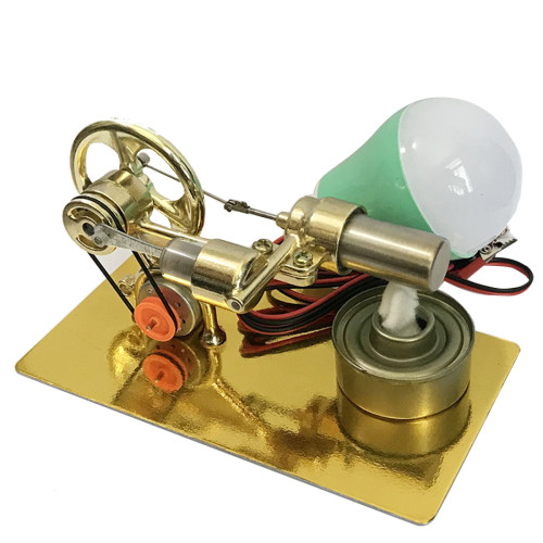 Single Cylinder Stirling Engine (Random Color of Bulb) - Golden