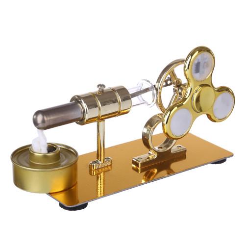 Custom Single Stirling Engine with Luminous Gyroscope - Golden
