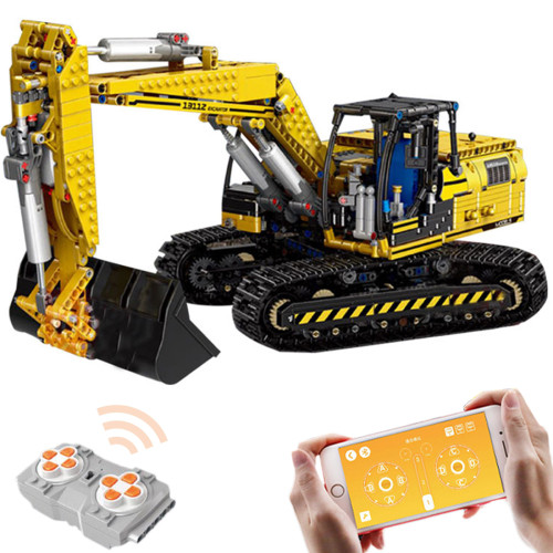 1830+Pcs 2.4g 4CH MOC Remote Control Excavator Building Block Bricks