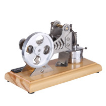 DIY All-metal Vacuum Stirling Engine with Solid Wood Baseplate