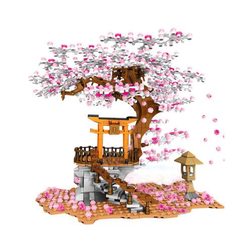 1814+Pcs DIY Romantic Sakura Tree Cherry Blossom Assembly Bricks Blocks  - Mid-levels