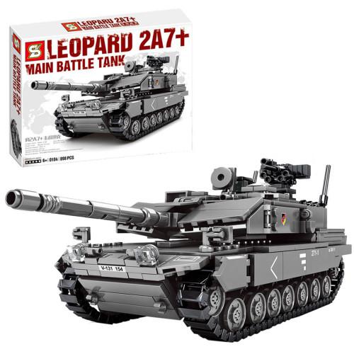 898Pcs Assembly Military Main Battle Tank Bricks Blocks -Grey Camouflage