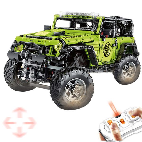 2343Pcs MOC 1:8 2.4G 4CH SUV Assembly Vehicle Bricks with Light