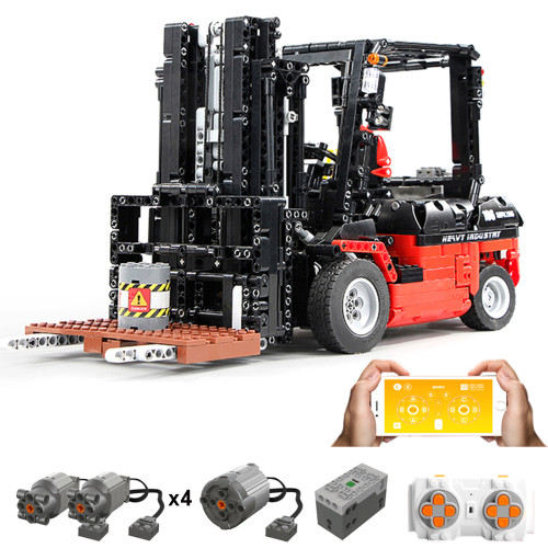 1719+Pcs 1:10 2.4G RC Fork Lift Truck  Assembly Bricks Blocks