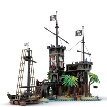 1964Pcs Pirate Fortress MOC-69306 Medieval Theme Style Small Particles Pirate Bay Building Blocks Model Kits Compatible with 21322 Barracuda Bay Pirate (Licensed and Designed by Gr33tje13)