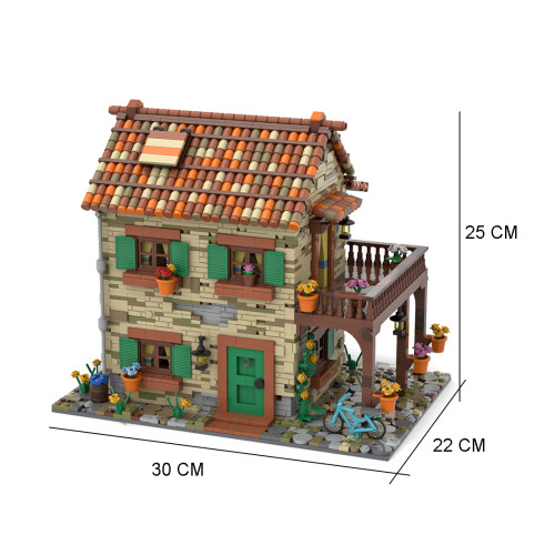 2950Pcs MOC Italian Residential Street View Model MOC-77566 Building Blocks Model (Licensed and Designed by Povladimir)