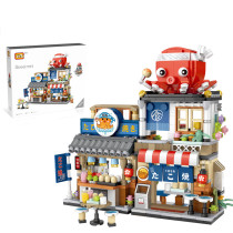 722Pcs Japanese Street View Series Takoyaki Shop Bricks Mini Particle DIY Building Blocks Stem Toy Kit (The product is not made and sold by lego and has no connection with lego) (Not compatible with small particle bricks)