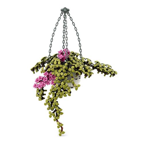 289Pcs MOC Artificial Spider Plant Bouquet Bonsai Small Particle DIY Building Blocks