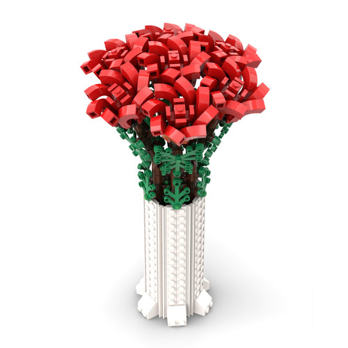 443Pcs Rose Flower Bouquet Building Blocks DIY Assembling Flower Toy (Licensed and Designed by Ben_Stephenson, compatible with 10280 10281 40460)