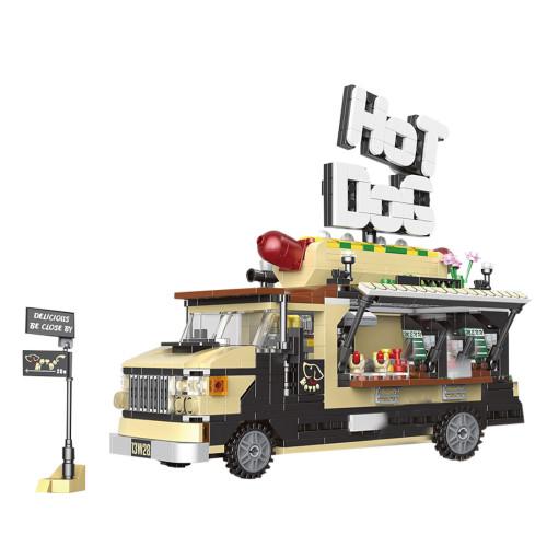 778+Pcs City Series Street View Model DIY Hotdog Vehicle Building Blocks Toys