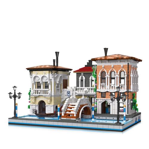 3050+Pcs European Architecture Venice City Street View Bricks Model Small Particles Building Block Set
