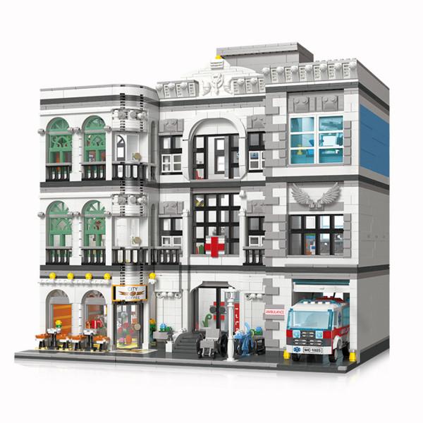 4953+Pcs Urban Street View Series Emergency Hospital Bricks Kits Small Particle Building Blocks Model