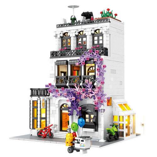 1914Pcs Moc Europe Flower Street Creative Street View Building Blocks Toy Stem Set - Type 3