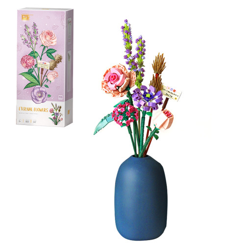547Pcs MOC Creative Flower Mini Particle Bricks Model Building Block Toy without Vase - Romance Aegean Sea