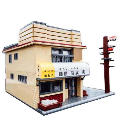 CaDA 1908Pcs MOC Small Particles Initial D Tofu Shop Building Blocks Toy
