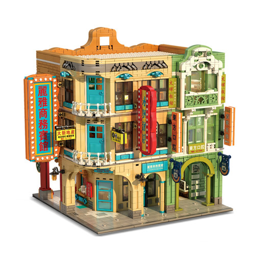 4039Pcs MOC Street View Bricks Model Oriental Retro Architectural Small Particle Building Blocks Set with Light
