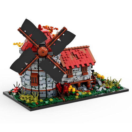2064Pcs MOC-58912 Modular Medieval Windmill Architectural Bricks Model Street View Building Block Kit (Licensed and Designed by Peeters Kevin)