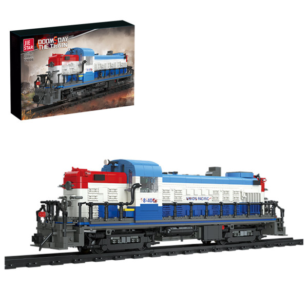 2399+Pcs Doomsday Scene Steam Train Small Particles Building Blocks Assembly Toys Set with Train Track - Static Version