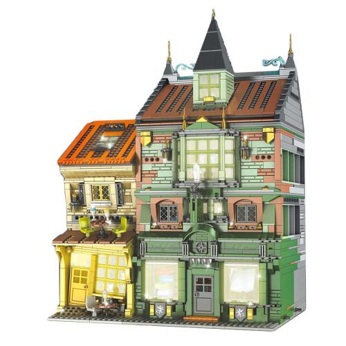 3468+Pcs Magic World Series Bookstore Bricks Model DIY Small Particle Building Blcoks with Light