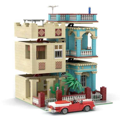 2906+Pcs Cuba Havana House Bricks Model DIY Building Block Kits (Authorized and Designed by SugarBricks)