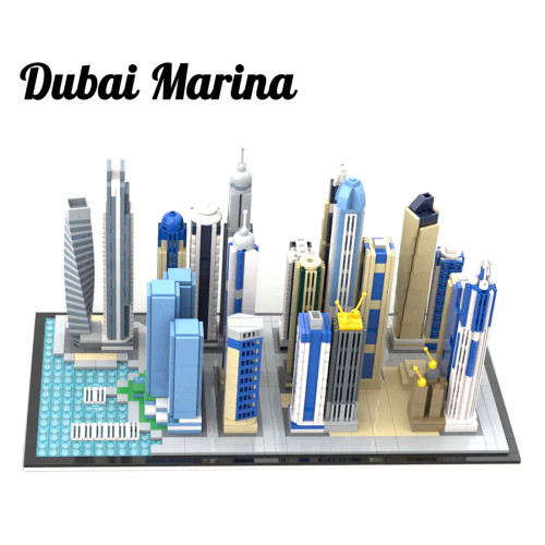2499+Pcs Dubai Marina Miniature Scene Skyline Bricks Model DIY Building Block Kits