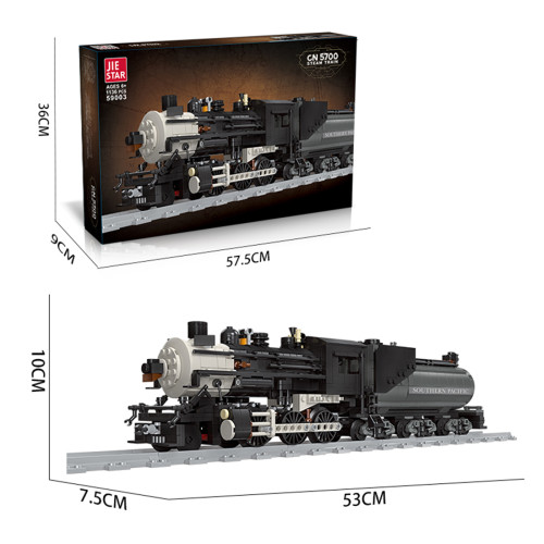 1136+Pcs Black Retro Steam Train Small Particles Building Blocks Assembly Toys Set with Train Track - Static Version (This product is not manufactured or sold by Lego and has no connection with Lego)