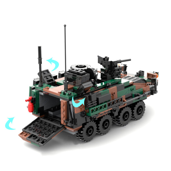 513Pcs Modern Military Series Armored Infantry Vehicle Bricks Model Kits Small Particle Assembly Building Blocks Stem Toys - Camouflage
