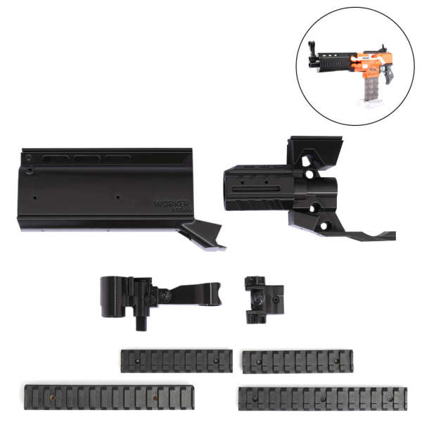 Worker f10555 3D Printing Modularized NO.152 Front Tube Kit for Nerf N-Strike Elite Stryfe Blaster - Black