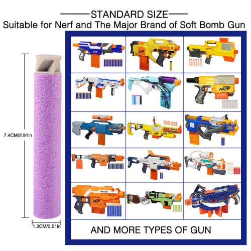 1000pcs Dart Refills Flat Soft Head Foam Bullets for Nerf  7.4cm x1.3cm -Purple