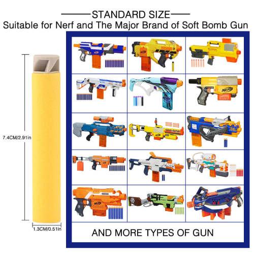 1000pcs Dart Refills Flat Soft Head Foam Bullets for Nerf 7.4cm x1.3cm -Yellow