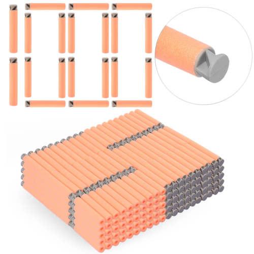 1000pcs Dart Refills Flat Soft Head Foam Bullets for Nerf 7.4cm x1.3cm -Pink