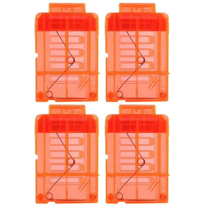 Long Bullet Cartridge Holder Bullet Clip with 6Pcs Loops for Nerf - Transparent Orange Orange