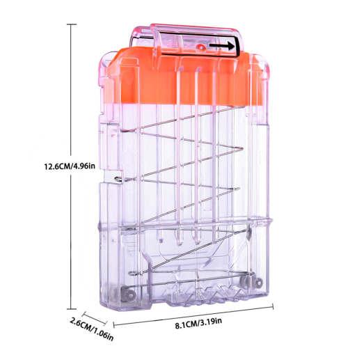 6-Bullets Magazine Clip Tactical Bullet Clip - Transparent Orange Push Top