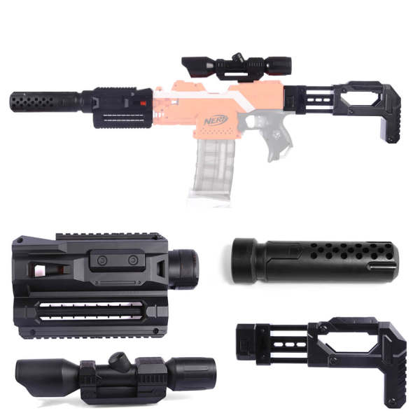 Inlay Type Soft Bullet Blaster Parts Stock set for Nerf Modification - Black