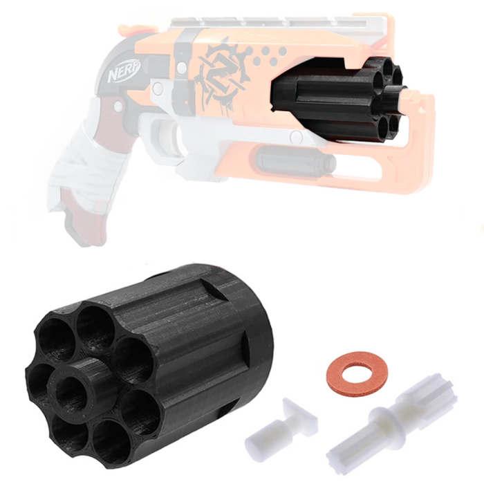 7 Darts Cylinder for Nerf Zombie Strike Hammershot Blaster - Black