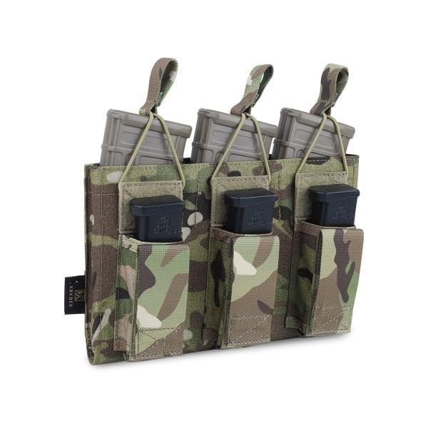 Krydex Tactical 556 Mag Pouch Elastic Rope MOLLE 223 Pistol Triple Magazine Carrier