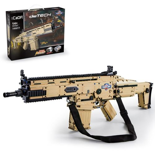 1406Pcs 1:1 SCAR-L Assault Rifle Building Blocks Blaster Toys