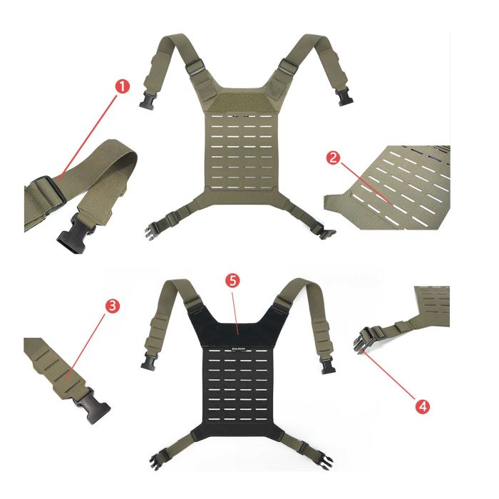 DMGear D3 SS MK3 Chest Rig Tactical Hunting Back Panel Universal MOLLE Back Panel - MC