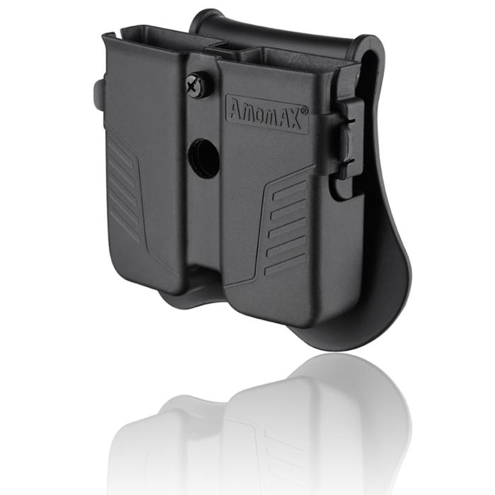Amomax Universal Tactical 9mm Double Mag Pouch for Airsoft - Black
