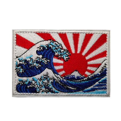 JP Kanagawa Great Wave Tactical Embroidered Badge DIY Morale Patches