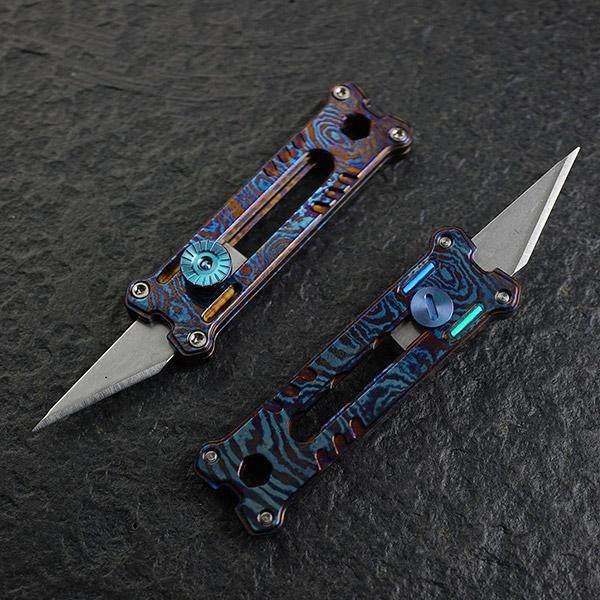 Mecarmy EK12 Titanium Damascus Mini Keychain Utility Knife