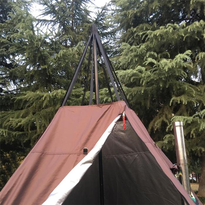 Hot Tent Camping Tipi With Stove Jack For 1-2 Person 4 Season 2 Doors 5 Sides